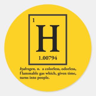hydrogène - un gaz qui se transforme en personnes autocollant rond