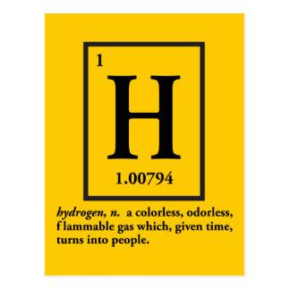 hydrogène - un gaz qui se transforme en personnes carte postale