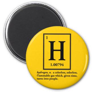 hydrogène - un gaz qui se transforme en personnes magnet rond 8 cm
