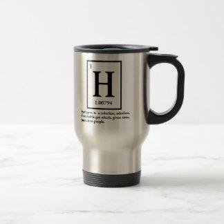 hydrogène - un gaz qui se transforme en personnes mug de voyage en acier inoxydable