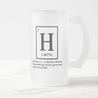 hydrogène - un gaz qui se transforme en personnes mug en verre givré