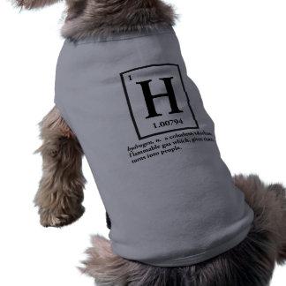 hydrogène - un gaz qui se transforme en personnes tee-shirt pour chien