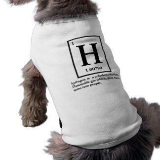 hydrogène - un gaz qui se transforme en personnes tee-shirt pour toutou