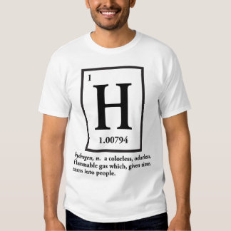 hydrogène - un gaz qui se transforme en personnes tee-shirts