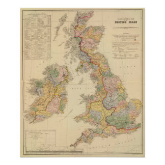 Hydrographical map, British Isles Poster