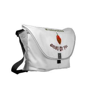 Hydroponics grows on you, single habanero pepper messenger bags