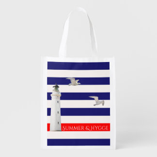 Hygge blue white nautical stripes and lighthouse reusable grocery bag