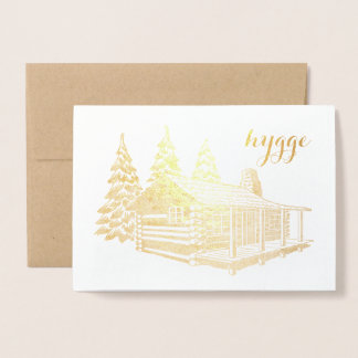 hygge cabin in the woods gold foil foil card