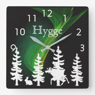 Hygge nordic woods silhouettes and northern lights square wall clock