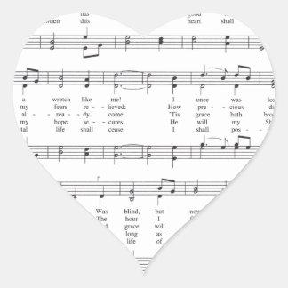 Hymn - Amazing Grace Heart Sticker
