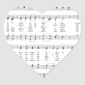 Hymn - O Come All Ye Faithful Heart Sticker