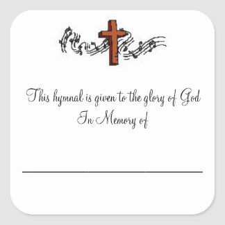 Hymnal Plates In Memory of Sticker