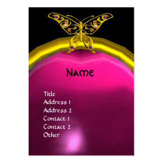 HYPER BUTTERFLY  AMETHYST MONOGRAM  yellow pink Large Business Card