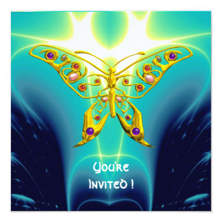 """HYPER BUTTERFLY blue turquase,yellow 5.25"""" Square Invitation Card"""