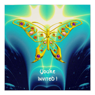 "HYPER BUTTERFLY blue turquase,yellow gold metallic 5.25"" Square Invitation Card"