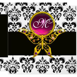 "HYPER BUTTERFLY MONOGRAM,black white damask, pink 5.25"" Square Invitation Card"
