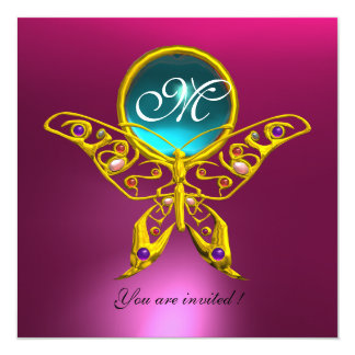 "HYPER BUTTERFLY MONOGRAM,blue,aquamarine pink 5.25"" Square Invitation Card"