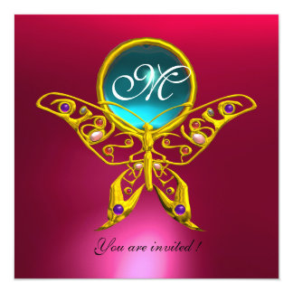"""HYPER BUTTERFLY MONOGRAM,blue,aquamarine pink red 5.25"""" Square Invitation Card"""