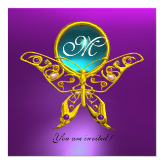 "HYPER BUTTERFLY MONOGRAM,blue,aquamarine purple 5.25"" Square Invitation Card"