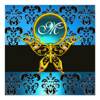 "HYPER BUTTERFLY MONOGRAM,blue damask,aquamarine 5.25"" Square Invitation Card"