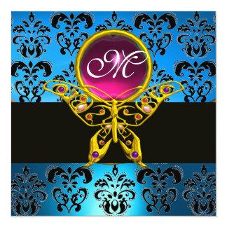 """HYPER BUTTERFLY MONOGRAM,blue damask, pink gem 5.25"""" Square Invitation Card"""