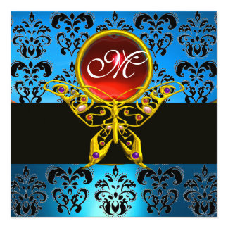"""HYPER BUTTERFLY MONOGRAM,blue damask, red ruby 5.25"""" Square Invitation Card"""