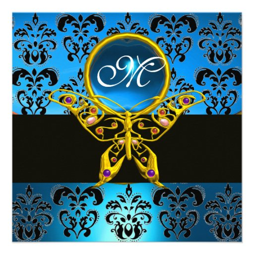HYPER BUTTERFLY MONOGRAM,blue damask sapphire Personalized Announcements