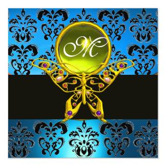 "HYPER BUTTERFLY MONOGRAM,blue damask, yellow gem 5.25"" Square Invitation Card"