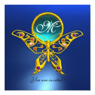 "HYPER BUTTERFLY MONOGRAM,blue,turquase aquamarine 5.25"" Square Invitation Card"