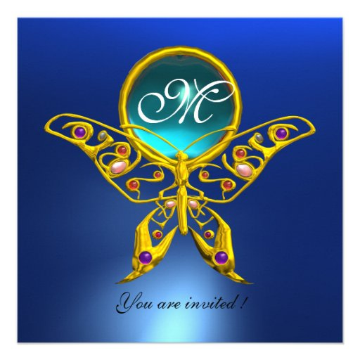 HYPER BUTTERFLY MONOGRAM,blue,turquase aquamarine Personalized Invitations