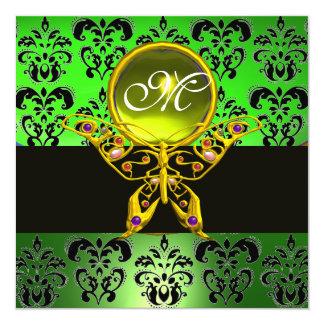 "HYPER BUTTERFLY MONOGRAM,green damask, yellow gem 5.25"" Square Invitation Card"