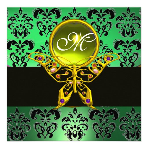 HYPER BUTTERFLY MONOGRAM,green damask, yellow gem Personalized Announcement
