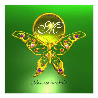 "HYPER BUTTERFLY MONOGRAM, green ,yellow topaz 5.25"" Square Invitation Card"