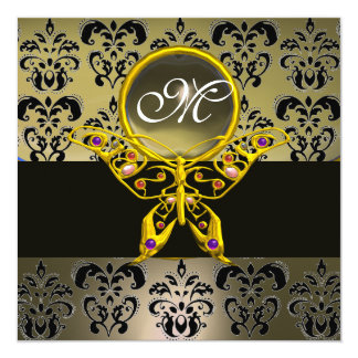"""HYPER BUTTERFLY MONOGRAM,grey damask agate 5.25"""" Square Invitation Card"""