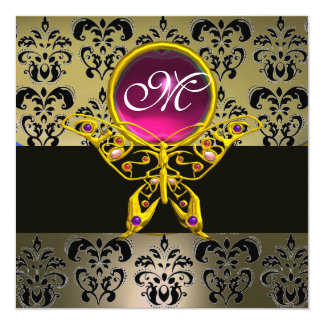 """HYPER BUTTERFLY MONOGRAM,grey damask pink ruby red 5.25"""" Square Invitation Card"""