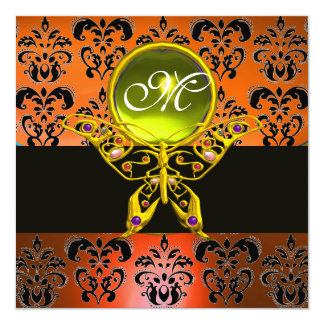 "HYPER BUTTERFLY MONOGRAM, orange damask,yellow gem 5.25"" Square Invitation Card"