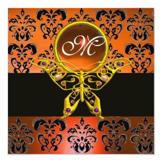 "HYPER BUTTERFLY MONOGRAM, orange damask,yellow gem 5.25"" Square Invitation Card"