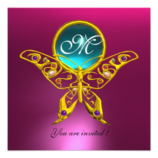 HYPER BUTTERFLY MONOGRAM, pink blue,aquamarine Personalized Invitations