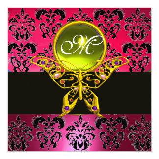 "HYPER BUTTERFLY MONOGRAM, pink damask,yellow gem 5.25"" Square Invitation Card"