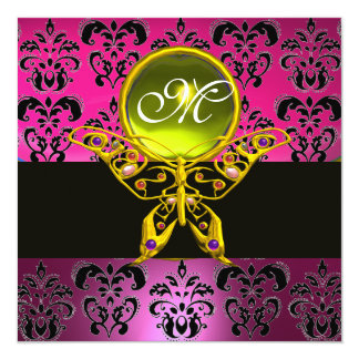 "HYPER BUTTERFLY MONOGRAM,pink purple damask yellow 5.25"" Square Invitation Card"