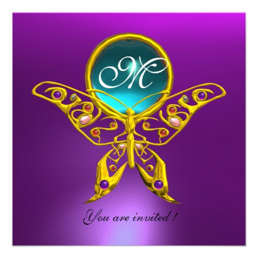 HYPER BUTTERFLY MONOGRAM,purple, blue,aquamarine Personalized Invites