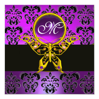 "HYPER BUTTERFLY MONOGRAM,purple damask,amethyst 5.25"" Square Invitation Card"