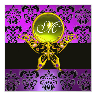 "HYPER BUTTERFLY MONOGRAM,purple damask,yellow gem 5.25"" Square Invitation Card"