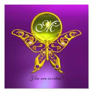 "HYPER BUTTERFLY MONOGRAM,purple, yellow topaz 5.25"" Square Invitation Card"