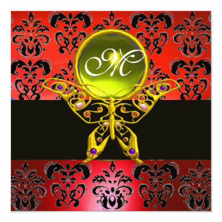 """HYPER BUTTERFLY MONOGRAM,red damask, yellow gem 5.25"""" Square Invitation Card"""