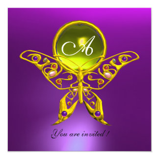 "HYPER BUTTERFLY MONOGRAM,yellow topaz ,purple 5.25"" Square Invitation Card"