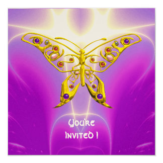 """HYPER BUTTERFLY pink fuchsia violet champagne 5.25"""" Square Invitation Card"""
