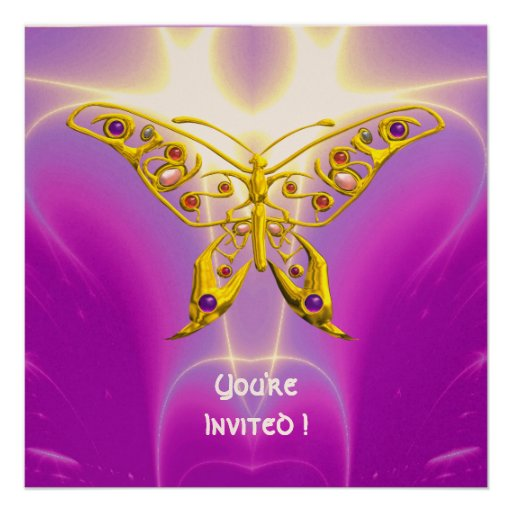 HYPER BUTTERFLY pink fuchsia violet champagne Custom Invitations