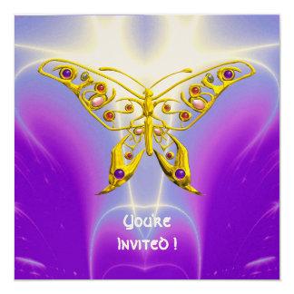 """HYPER BUTTERFLY purple fuchsia violet champagne 5.25"""" Square Invitation Card"""