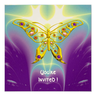 "HYPER BUTTERFLY purple green violet champagne 5.25"" Square Invitation Card"